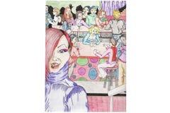 Gratte-cul et scène colorée de bar Photo stock