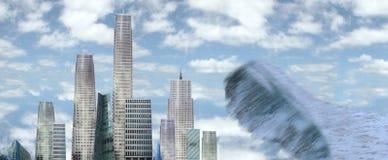 Grattoirs de ciel avec l'onde de marée illustration de vecteur