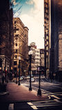 Grattoirs de ciel de ville de Boston en hiver Photos libres de droits
