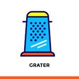 GRATTUGIA lineare dell'icona del forno, cucinante Pittogramma nello stile del profilo Adatto a apps, a siti Web ed a modelli mobi Immagine Stock Libera da Diritti