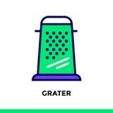 GRATTUGIA lineare dell'icona del forno, cucinante Pittogramma in styl del profilo Immagine Stock