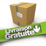 Gratuite de Livraison, boîte en carton Image stock