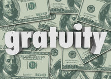 Gratuity Word Money Cash Background Paying Bill Extra Tips Thank Stock Photography