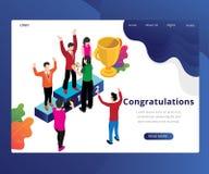 Gratulacje & ?wi?towanie Biznesowy Isometric grafiki poj?cie ilustracja wektor