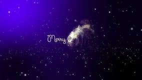 Gratulacje na Wesoło bożych narodzeniach Snowing na zmroku - błękitny tło zbiory wideo