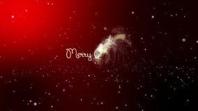 Gratulacje na Wesoło bożych narodzeniach Snowing na zmroku - czerwony tło zbiory wideo