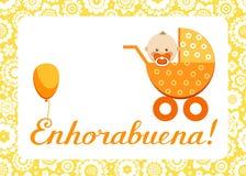 Gratulacje, nowy dziecko, kartka z pozdrowieniami, hiszpańszczyzny, wektor Zdjęcia Stock