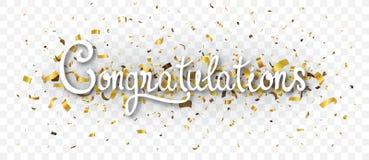 Gratulacje sztandar z złocistymi confetti, odizolowywającymi na przejrzystym tle royalty ilustracja