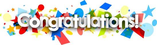 Gratulacje tapetują sztandar z confetti ilustracja wektor