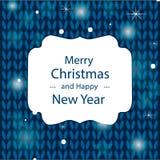Gratulacje Wesoło boże narodzenia na błękitnym trykotowym tle Zdjęcia Stock