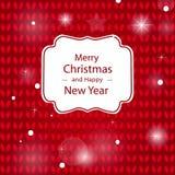 Gratulacje Wesoło boże narodzenia na czerwonym trykotowym tle Zdjęcia Stock