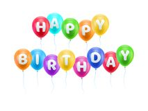 Gratulacje wszystkiego najlepszego z okazji urodzin nieb piłki Obraz Stock