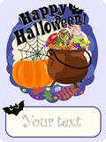 Gratulacje z szczęśliwym Halloweenowym plakatowym projektem również zwrócić corel ilustracji wektora Obraz Royalty Free