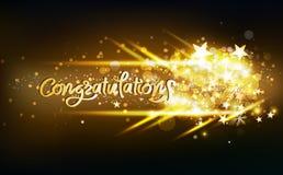 Gratulacyjna kaligrafia z jarzeniowym złocistym mknących gwiazd lekkim skutkiem neonowym, dekoracji świętowanie, confetti, płatek royalty ilustracja