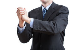 Gratulation sign with tight hands. Business felicitation of tight hands by a gentleman in suit Stock Photography