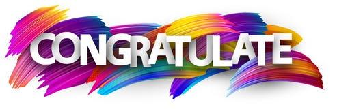 Gratulera banret med färgrika borsteslaglängder vektor illustrationer