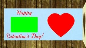 Gratulerar valentindag Öppet hälsningkort och lycklig valentindag för önska Fira den röda hjärtatakten för ferie stock illustrationer
