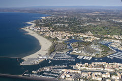 Grau d'Agde - South of France. Aerial view Royalty Free Stock Photo