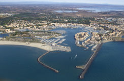 Grau d'Agde - South of France. Aerial view Royalty Free Stock Images