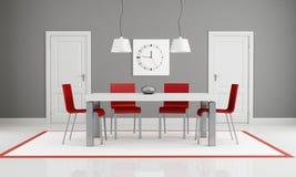 Grau Und Rotes Esszimmer Stockfotografie