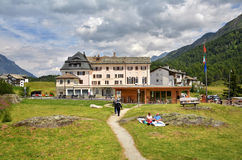 The old Maloja Kulm Hotel, Maloja Pass, Switzerland. GRAUBUNDEN ,SWITZERLAND - JULY 27, 2017. The old Maloja Kulm Hotel, one of the classic Ski Hotels on Maloja Stock Photography