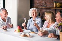 Graue ältere Mutter, die Toast zu ihrer reifen Tochter sagt Stockbild
