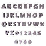 Graue 3D Buchstaben/Alphabet/Zahlen Lizenzfreies Stockbild