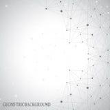 Graue grafische Hintergrundpunkte mit Verbindungen für Stockfotografie