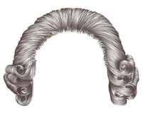 Graue Haarlocken der Mannperücke mittelalterliche Artrokokos lizenzfreie abbildung