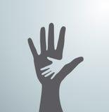 Graue Handreichungen Idee des Zeichens für die Vereinigung von Sorgfalt - Hand in Hand Vektor Stockfoto