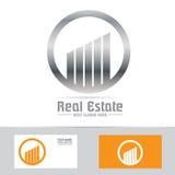 Graue Immobiliengebäudelogoikone des Symbols Stockfoto