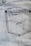 Graue Jeans unterstützen Taschenhintergrundbeschaffenheit Lizenzfreies Stockfoto