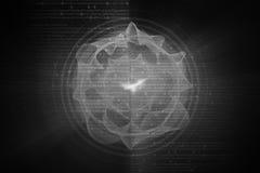 Graue Kreisglühenwelle Scifi- oder Spielhintergrund Stockfotografie