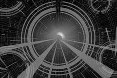 Graue Kreisglühenwelle Scifi- oder Spielhintergrund Lizenzfreies Stockfoto