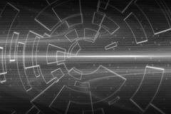 Graue Kreisglühenwelle Scifi- oder Spielhintergrund Stockbild