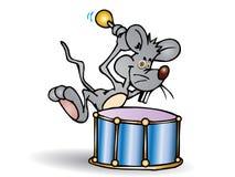 Graue Maus, die große Trommel spielt Stockfoto