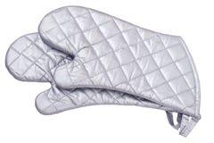Graue metallische wärmeschützende Handschuhe Stockbilder