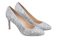 Graue Schuhe der Frauen mit Funkeln Stockfotos