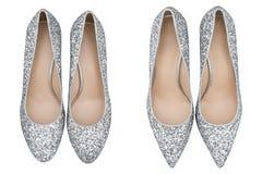 Graue Schuhe der Frauen mit Funkeln Lizenzfreie Stockfotografie