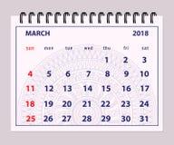 Graue Seite im März 2018 auf Mandalahintergrund Stockfotografie