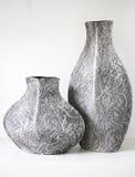 Graue Spitzemuster-Vasen Stockfoto