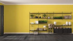 Graue und gelbe Innenarchitektur Eco mit hölzernem Bücherregal, diy v stockfotos