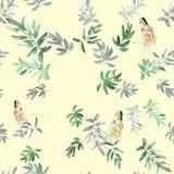 Graue und grüne Blätter des nahtlosen Musters mit drei Schmetterlingen auf einem gelben Hintergrund watercolor Stockbilder