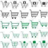 Graue und grüne Warenkörbe - Ikonen stockbild