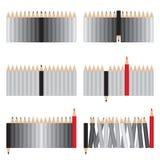 Graue und rote Bleistifte Lizenzfreie Stockbilder