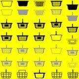 Graue und schwarze Farbe des Einkaufskorbs oder des Warenkorbes - lizenzfreie abbildung