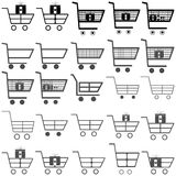Graue und schwarze Warenkörbe - Ikonen lizenzfreie stockfotos