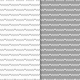 Graue und weiße geometrische Verzierungen Set nahtlose Muster Lizenzfreie Stockbilder