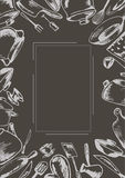 Graue Vektorschablone mit einer Skizze des Kochgeschirrs Lizenzfreies Stockbild