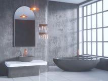 Grauer Badezimmerinnenraum Mit Einem Konkreten Boden Eine Badewanne